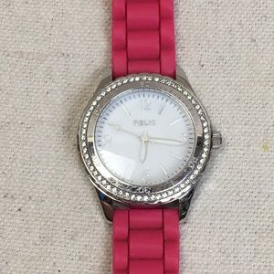 Relic pink band crystal bezel watch